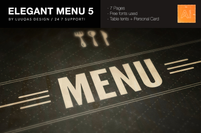Elegant Food Menu 5 Illustrator Template