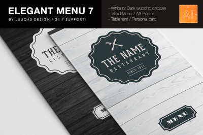 Elegant Food Menu 7 Illustrator Template