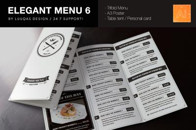 Elegant Food Menu 6 Illustrator Template
