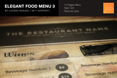 Elegant Food Menu 3 Illustrator Template