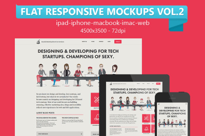 12 Flat Responsive Web Mockups Vol.2