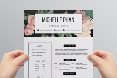 Floral 2 page CV template / resume template