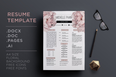 Floral CV template / resume template