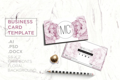 Pink floral business card template