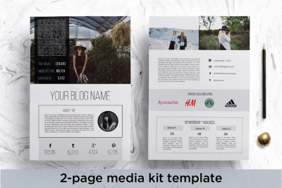 Modern 2 page media kit template
