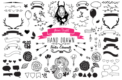 Hand Drawn Vector Elements + PNGs