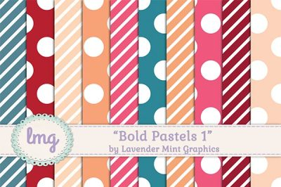 Pastel Striped Polka Dot Digital Paper