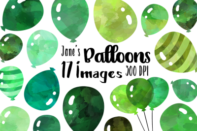 Watercolor Green Balloons Clipart