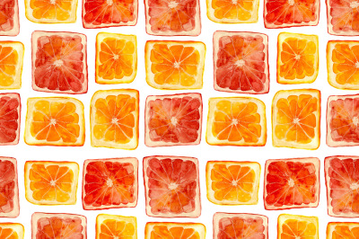 Cubic citrus fruits pattern