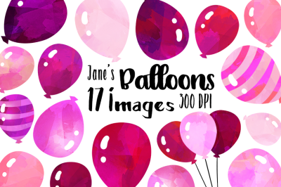 Watercolor Pink Balloons Clipart