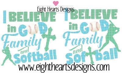 I believe in God, Family & Baseball - Cutting Design, SVG EPS PNG DXF