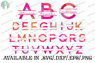 Split Block Letters - SVG, DXF, EPS Cut Files