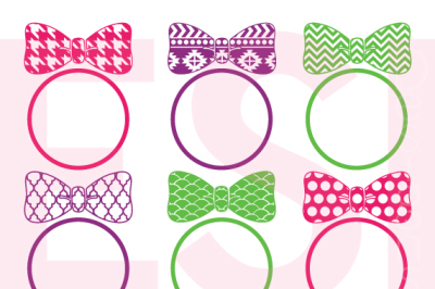 Patterned Bow Monogram Designs - SVG, DXF, EPS - SVG cutting files.