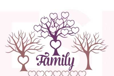 Family Tree with Hearts - SVG, DXF, EPS - Cutting Files