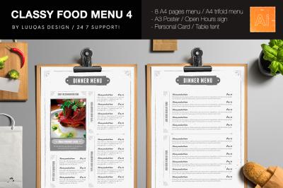 Classy Food Menu 4 Illustrator Template