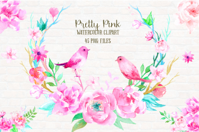 Watercolor Clipart Pretty Pink