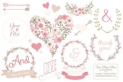 Soft Pink Vector Floral Heart & Wreaths