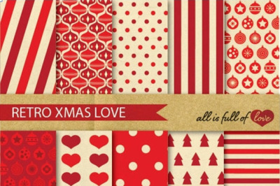 Retro Xmas Backgrounds Red Christmas Digital Paper Pack Christmas pattern