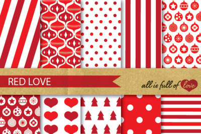 Red Xmas Backgrounds Red Christmas Digital Paper Pack
