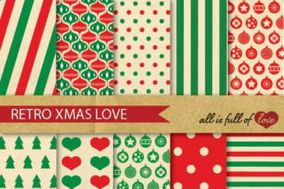 Vintage Christmas Backgrounds Red Green Xmas Digital Paper Pack Retro