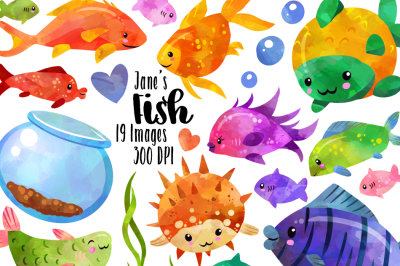 Watercolor Tropical Fish Clipart
