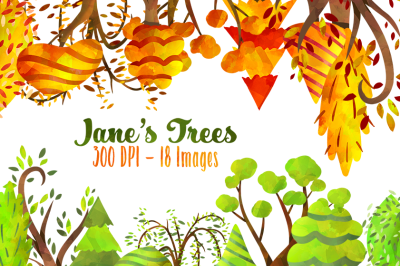 Spring and Fall Trees Clipart