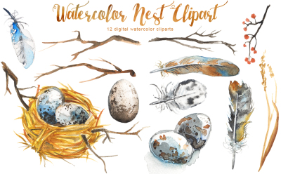 Watercolor Nest Clipart