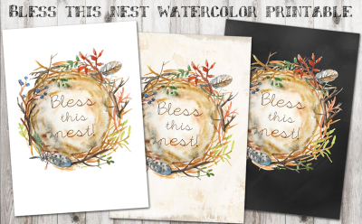 Bless This Nest Watercolor Printable