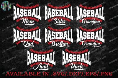 Baseball Family - SVG, DXF, EPS Cut Files