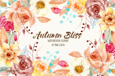 Watercolor Clip Art Autumn Bliss