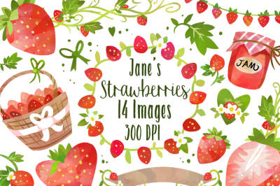 Watercolor Strawberries Clipart