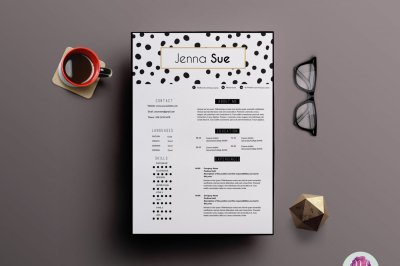 Modern , chic 2 page resume template , cover letter template