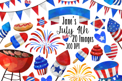 Watercolor July 4th Clipart Set