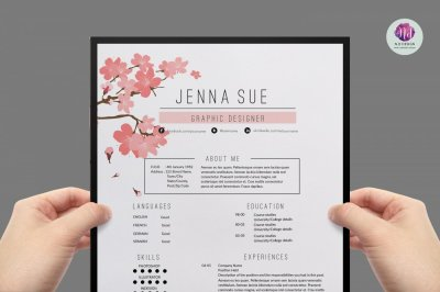 Floral resume template , cover letter template , references template