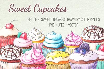 Hand Drawn Cupcakes Set