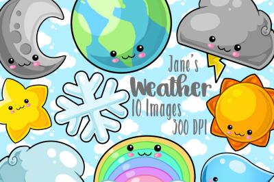 Kawaii Weather Clipart Set
