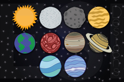 Planets Clipart, Includes Space Star Digital Paper. 10 PNG files and 1 JPEG.