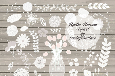 Vector Rustic flowers clipart Wedding Invitation clipart&2C; Rustic Country Wedding Invitations&2C; wood grain background