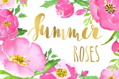 Pink roses watercolor clip art