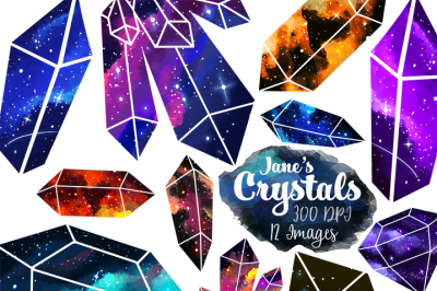 Space Crystals Clipart Set