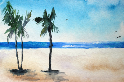 Beach watercolor painting with palms