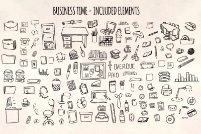Business Time - 120+ Office Illustrations - Vector Graphics Bundle!
