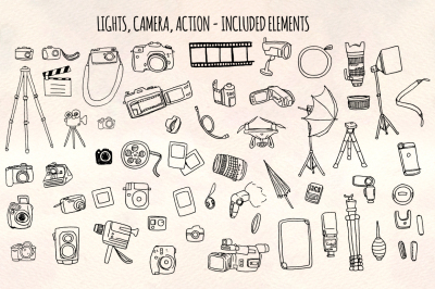 Lights Camera Action - 50+ Camera Illustrations - Vector Graphics Bundle!