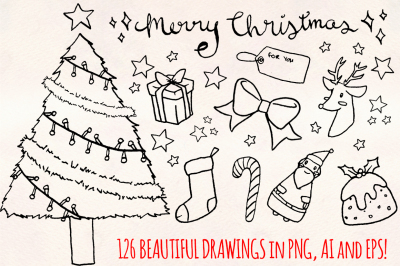 Merry Christmas - 120+ Holiday Illustrations - Vector Graphics Bundle!
