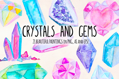 Crystals and Gems Watercolor Graphics - 21 Illustrator Elements - Vector Graphics Bundle!