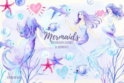 Watercolor Mermaid Clip Art