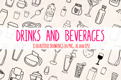 Drinks - 80+ Beverage Illustrations - Vector Graphics Bundle!