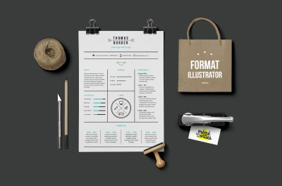 CV Burger - Resume template Illustrator