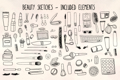 Beauty Sketches- 70 Cosmetics and Make Up Illustrations - Vector Graphics Bundle!