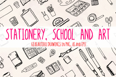 Stationery, School and Art - 60+ Art Supply Illustrations - Vector Graphics Bundle!